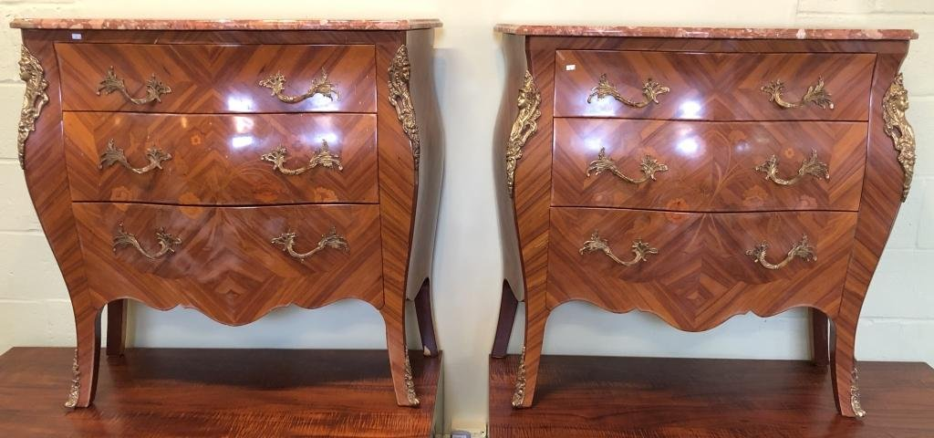 Pair Louis XV Style Marble Top Commodes