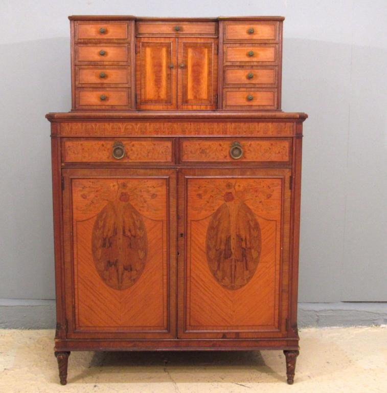 French Marquetry Inlaid Chest on Chest