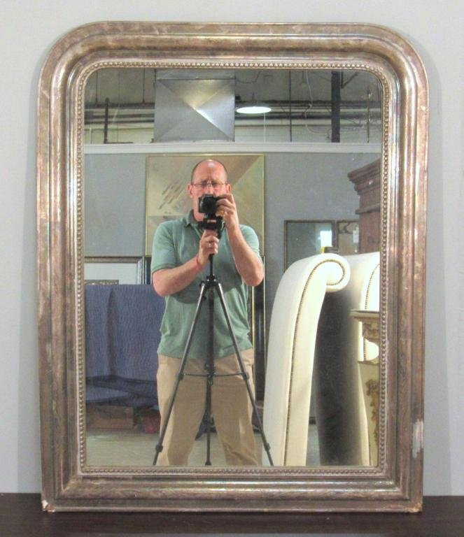 Silvered Wood Frame Mirror