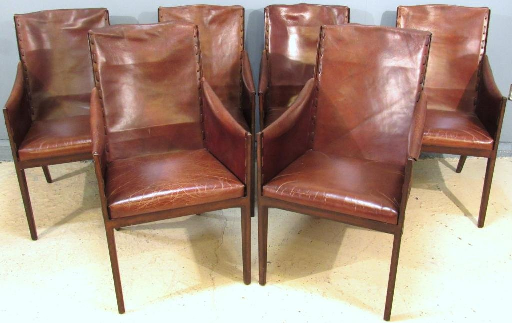 Set of 6 Jean Michel Frank Style Arm Chairs