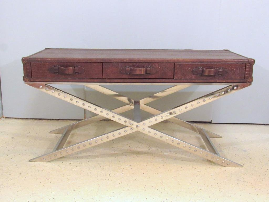 Modern Leather and Faux Croc Wrapped Desk