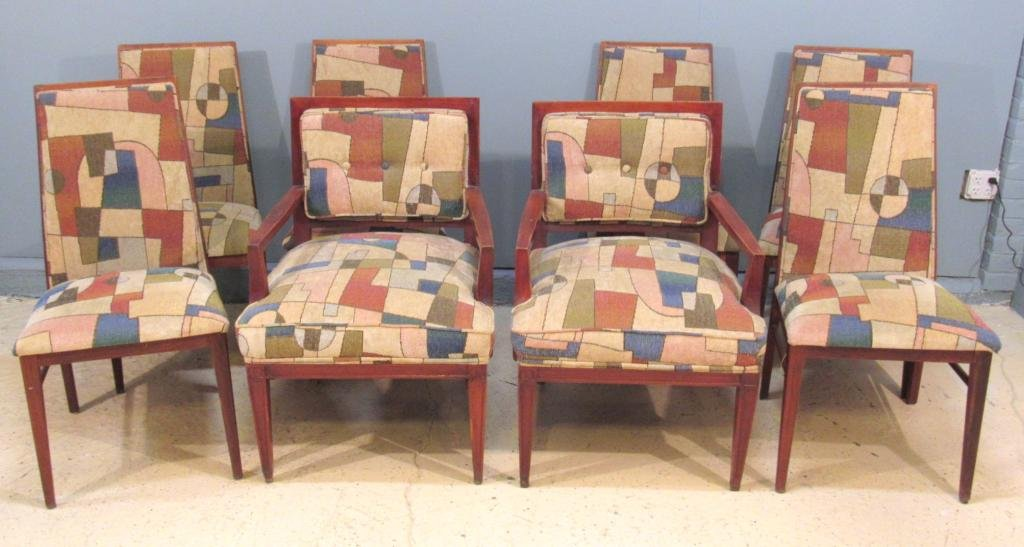 Set of 8 Assembled Mid Century Dining Chairs