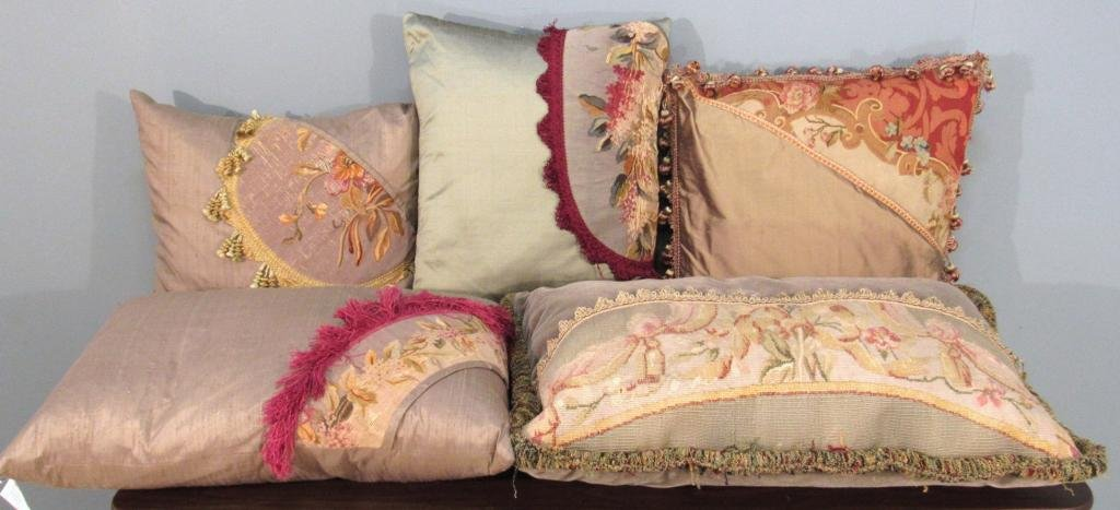 5 Partial Aubusson Covered Pillows