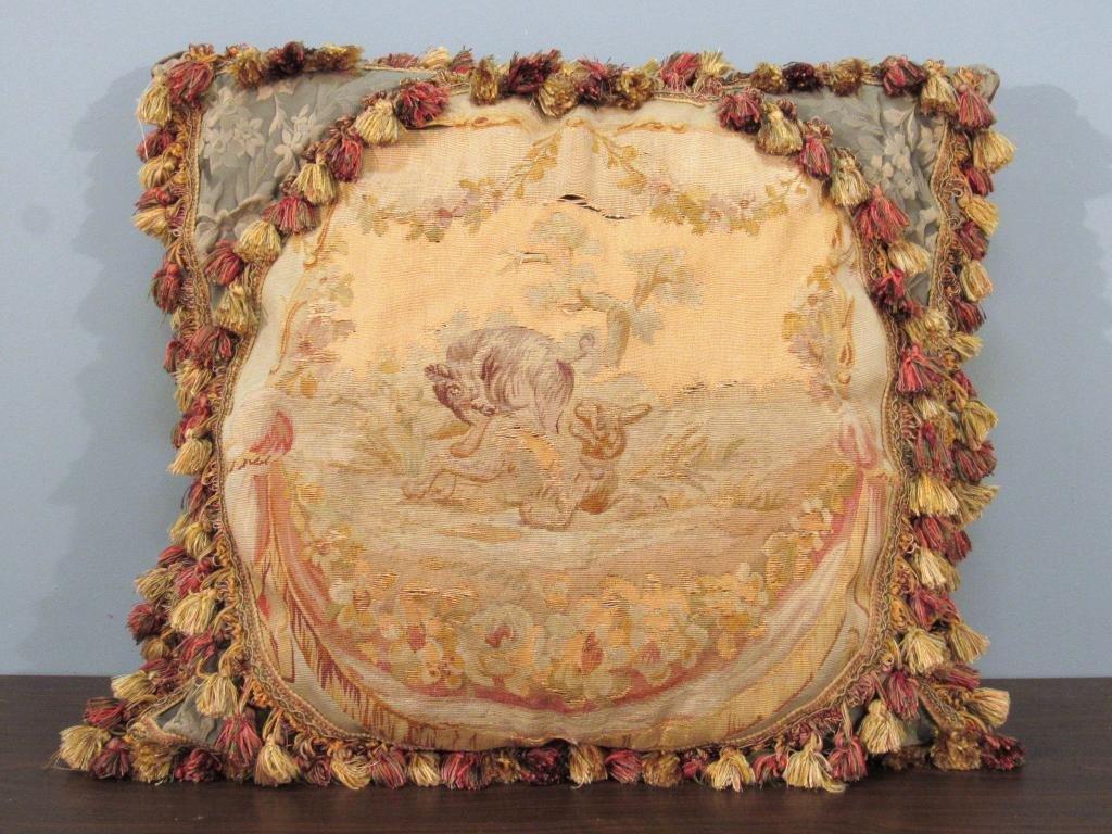 Large Aubusson Panel Fringed Pillow