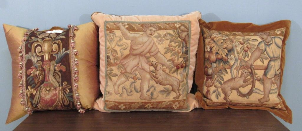 3 Flemish and Aubusson Tapestry Pillows