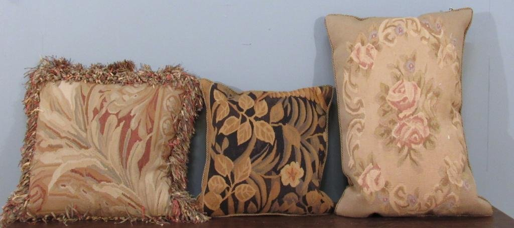 3 Aubusson Tapestry Pillows