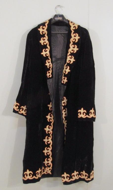 Black Velvet and Trimmed Ladies Coat