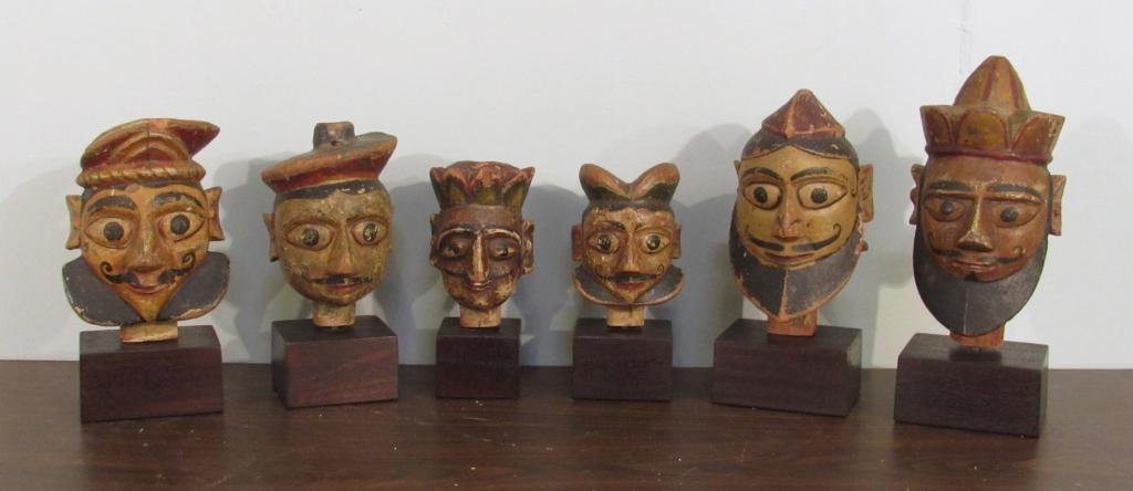 Group of 6 Antique Carved Male Puppet Heads