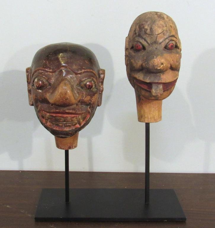2 Antique Carved Wood Puppet Heads