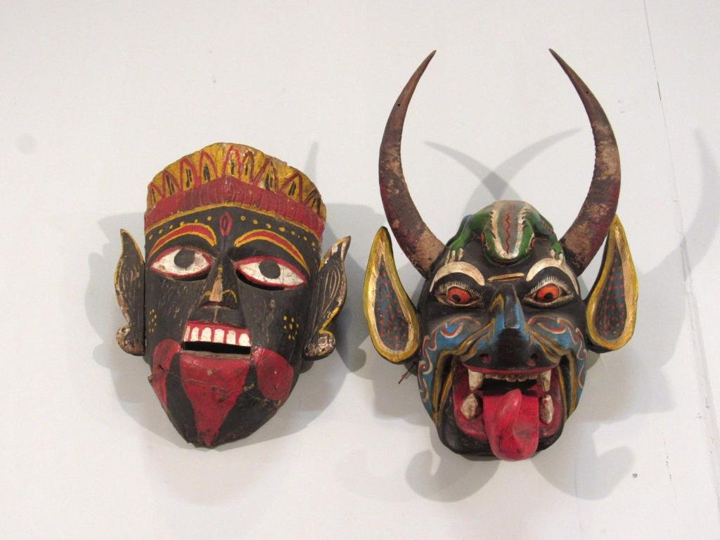 2 Ethnic Carved Wood and Painted Masks