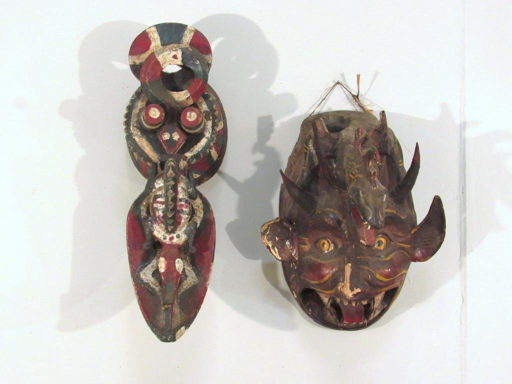 2 Painted and Carved Ethnic Masks