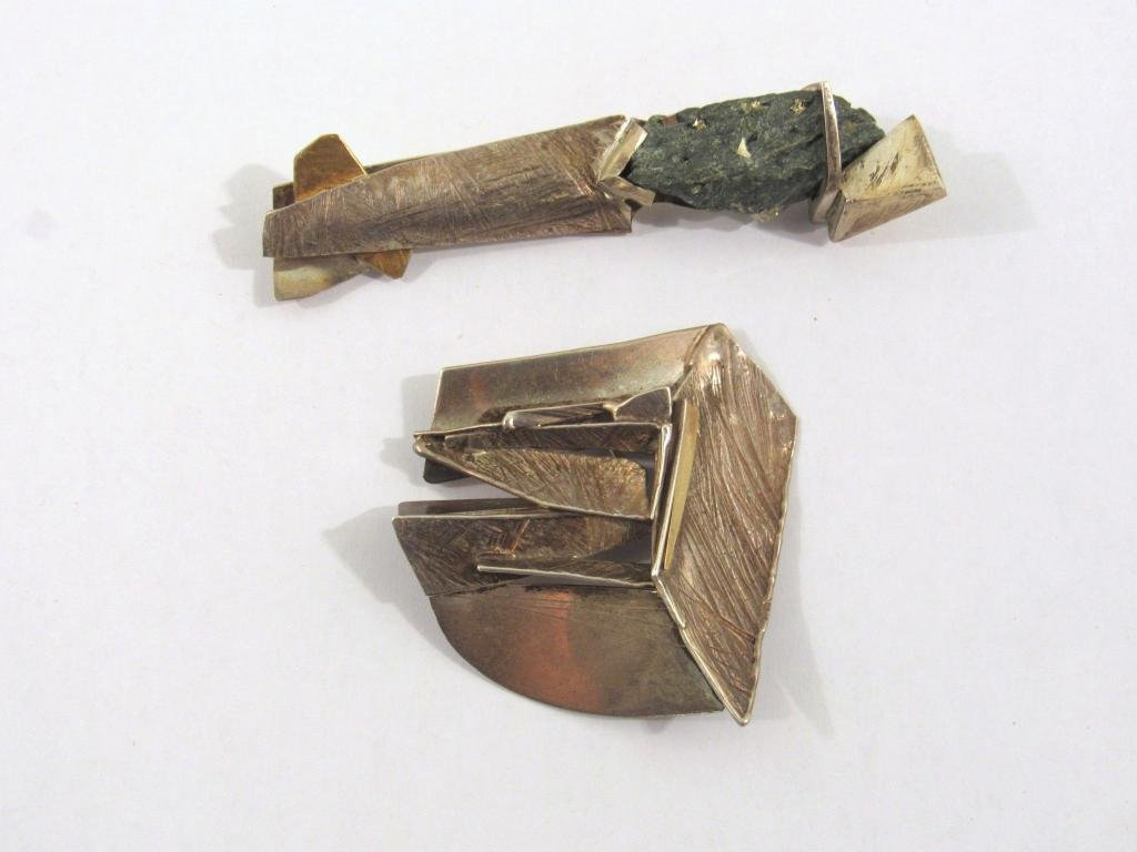 2 Mid Century Sterling and Gold Brooches/Pins
