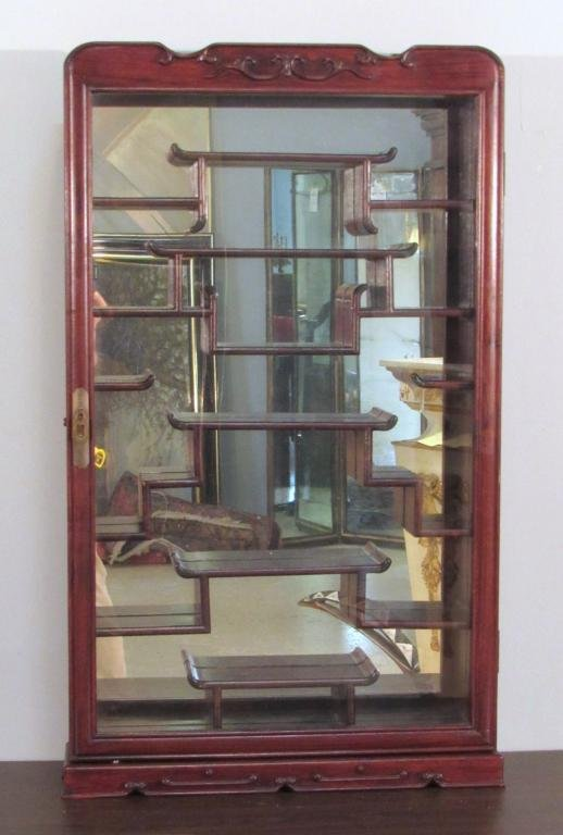 Chinese Rosewood Snuff Bottle Display Cabinet