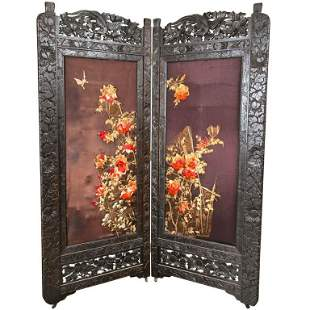 Two Panel Chinoiserie Decorated Embroidered Screen
