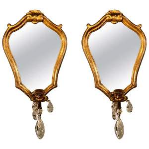 Pair of Wall Sconces with Crystals in Giltwood Hea
