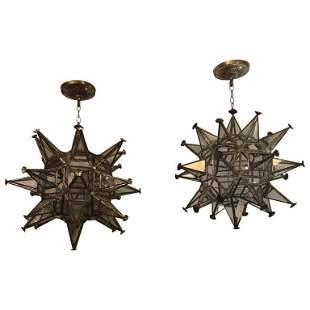 Pair of Mid  Century Modern Sputnik Star Light Fixture