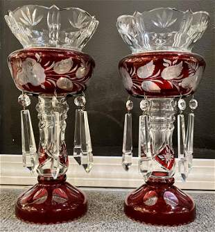 Cut to Clear Cranberry Hurricane Lamps