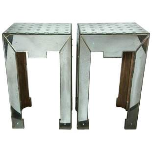 Pair of Bulls Eye Decorated Mirrored End Tables