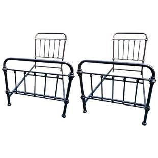 Pair of Metal Twin Sized Bed Frames in Pipe Form