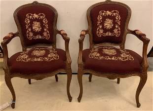 Pair of Needlepoint Walnut Chairs