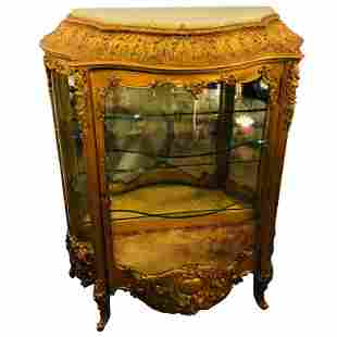 19th c. Giltwood Louis XV Carved Vitrine Cabinet