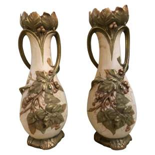 Pair of Royal Dux Flower Vases or Centerpieces