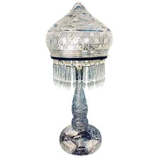 Large Cut Glass and Crystal Domed Table Lamp