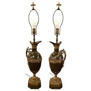 Pair Ewer Urn Form Table Lamps
