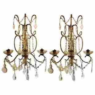 Pair of Venetian Three-Arm Mirror Back Wall Sconce