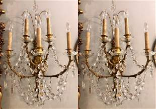 Pair Five Light Bronze and Crystal Wall Sconces