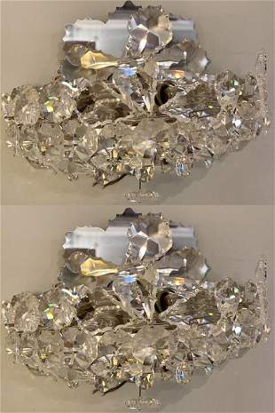 Pair of Crystal Wall Sconces Art Deco