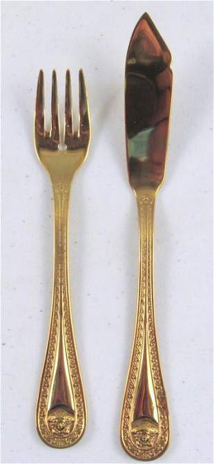 24 Pc. Versace for Rosenthal Gold Plated Fish Set