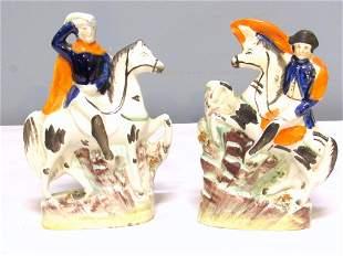 Pair Staffordshire Men on Horseback