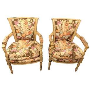 Pair of Maison Jansen Fauteuils Style Chairs