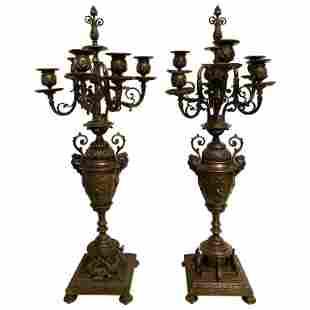 Pair of Brass Six-Arm Candelabras