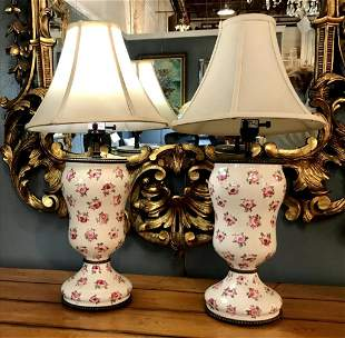 Pair of Porcelain Hand Painted Table Lamps