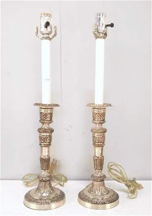 Pair Metal Candlestick Lamps    (118)
