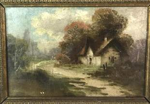 Cottage House Oil on Canvas Signed L.L