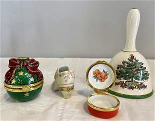 Porcelain Bell by Spode & Shoe Trinket Box by Limoges
