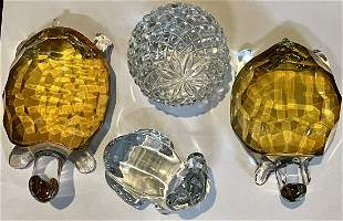 Amber Turtles And Crystal Paper Weights