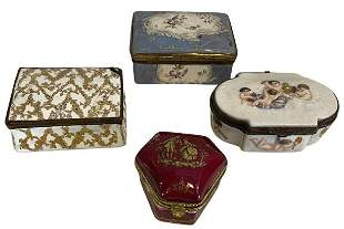 Four Small Painted Jewelry Boxes
