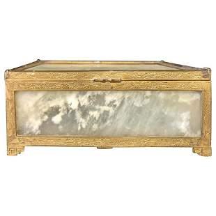 Chinese Jade and Gilt Metal Vanity Box, Casket Box