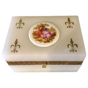 French Limoges Opalescent Glass Vanity Casket Box