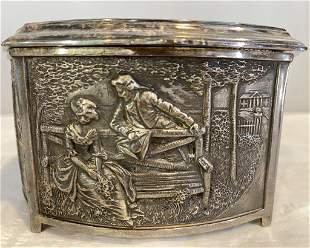 Silver Plate, Rococo Lined Jewel Box