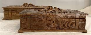Pair of Wooden Carved Boxes