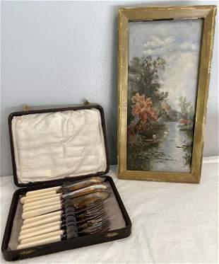 19th C. Oil on Canvas & Flatware