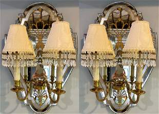 Pair of Jansen Style Mirrored Back Sconces