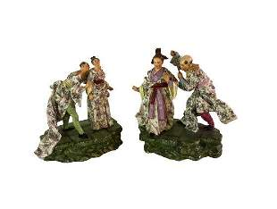 Pair of Fine 19th Century Hochst (?) Porcelain Figures