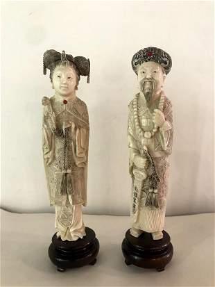 Pair of 19th Century Antique Figurines on Rosewood