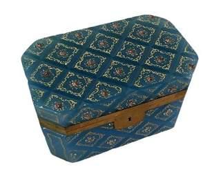 Large Murano Glass Celeste Blue & Bronze Casket Box